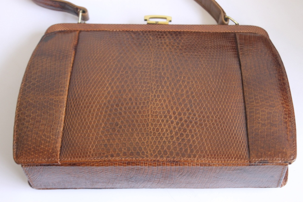 THREE VINTAGE HIDE HANDBAGS AND A CLUTCH BAG, one Mappin & Webb, one Marquessa and two unknown - Image 3 of 5