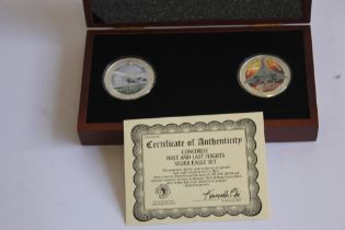 CONCORDE FIRST AND LAST FLIGHT SILVER 1OZ EAGLE COIN PAIR, in case of issue with certificate of
