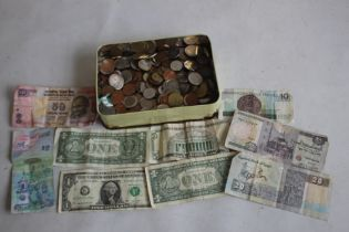 A TIN OF WORLD COINS TO INCLUDE A QUANTITY OF EUROS, together with a small collection of bank
