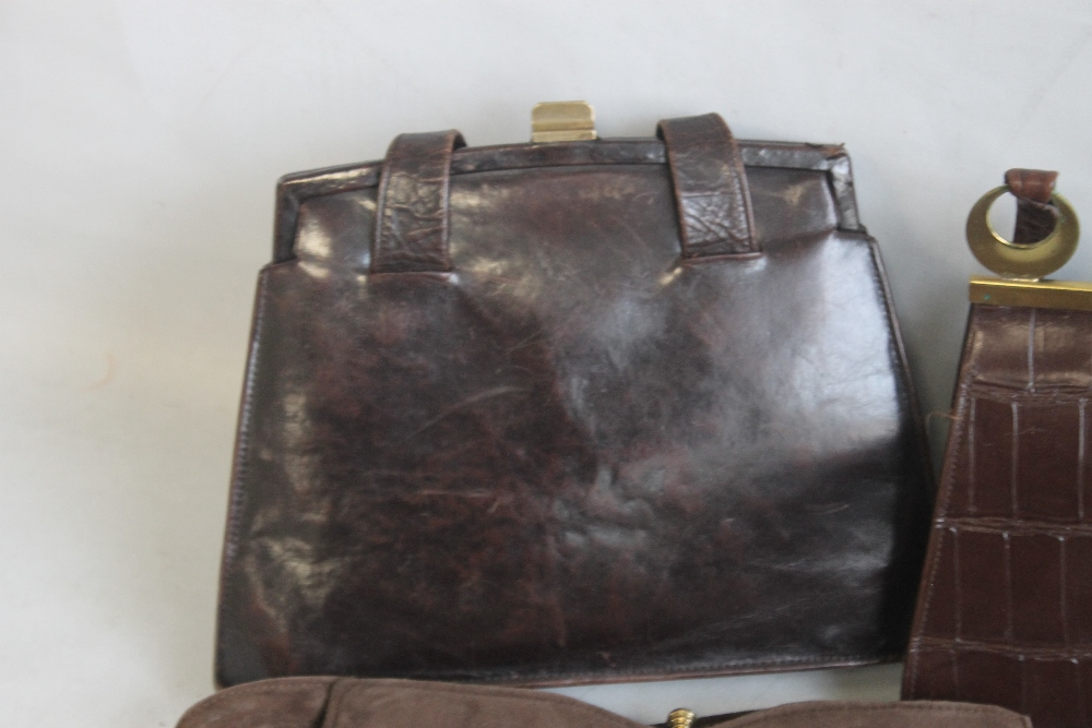 A BLACK LIZARD SKIN HANDBAG of unknown make together with a Meadows brown suede handbag and - Image 2 of 6