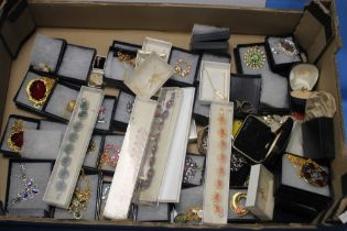 A TRAY OF COSTUME JEWELLERY to include necklaces, brooches etc. (Tray not included)
