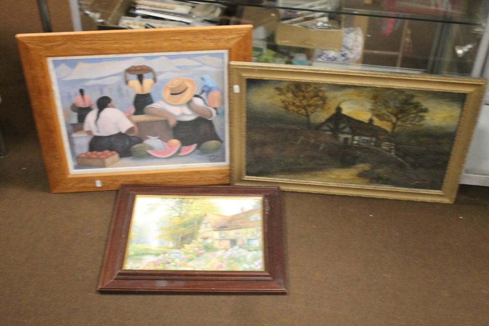 TWO FRAMED OILS ONE DEPICTING A FARMYARD SCENE THE OTHER A COTTAGE, together with a modern print