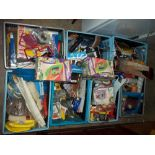 SEVEN CRATES OF CONSUMABLE HOUSEHOLD ITEMS, BOTH NEW AND USED