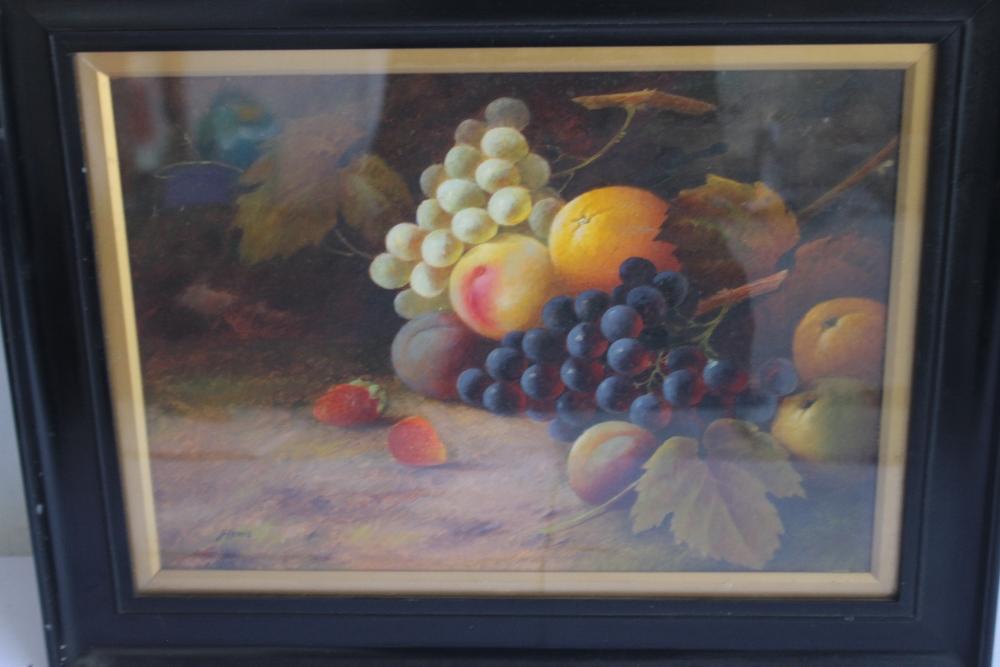 J. LEWIS STILL LIFE OIL PAINTING OF FRUIT, signed lower left, 39 x 50 cm including frame - Image 2 of 3