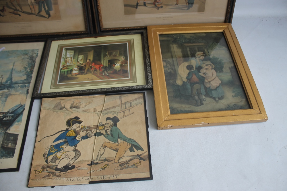 A QUANTITY OF PICTURES AND PRINTS to include an early 19th century Wheatley print, a pair of - Image 4 of 5