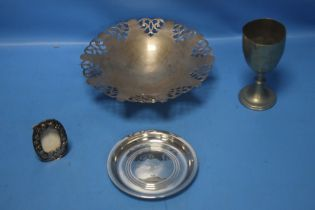A HALLMARKED SILVER DISH together with a white metal picture frame, trophy etc.