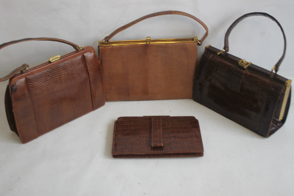 THREE VINTAGE HIDE HANDBAGS AND A CLUTCH BAG, one Mappin & Webb, one Marquessa and two unknown