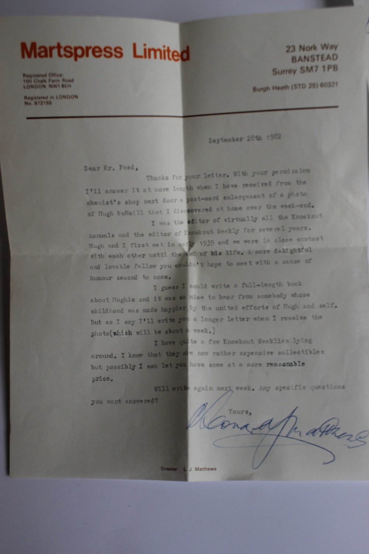 LEONARD MATTHEWS SIGNED LETTERS AND PHOTOGRAPH OF HUGH MCNEILL, - Leonard Matthews was editor, - Image 4 of 6