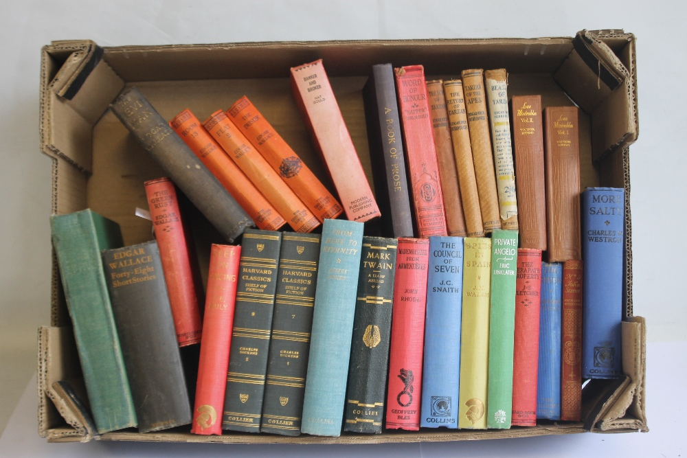 A TRAY OF VINTAGE HARDBACK NOVELS to include Edgar Wallace - 'Forty-eight Short Stories' published
