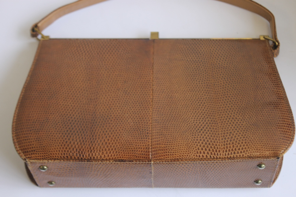 THREE VINTAGE HIDE HANDBAGS AND A CLUTCH BAG, one Mappin & Webb, one Marquessa and two unknown - Image 4 of 5
