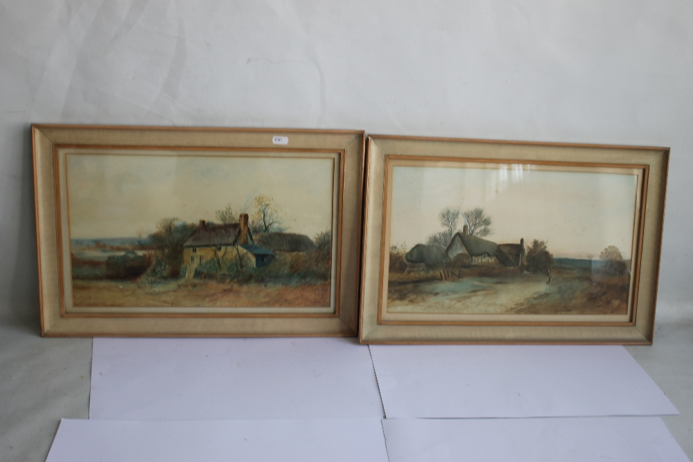 A PAIR OF FRAMED AND GLAZED WATERCOLOURS depicting farmyard scenes