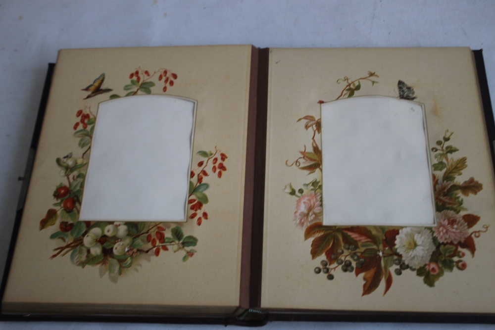 A VICTORIAN LEATHER BOUND PHOTOGRAPH ALBUM WITH CONTENTS, mainly portraits some decorated pages - Image 6 of 6