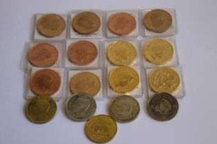 A COLLECTION OF EDWARD VIII REPLICA/FANTASY CROWN SIZE COINS, in bronze, golden alloy etc
