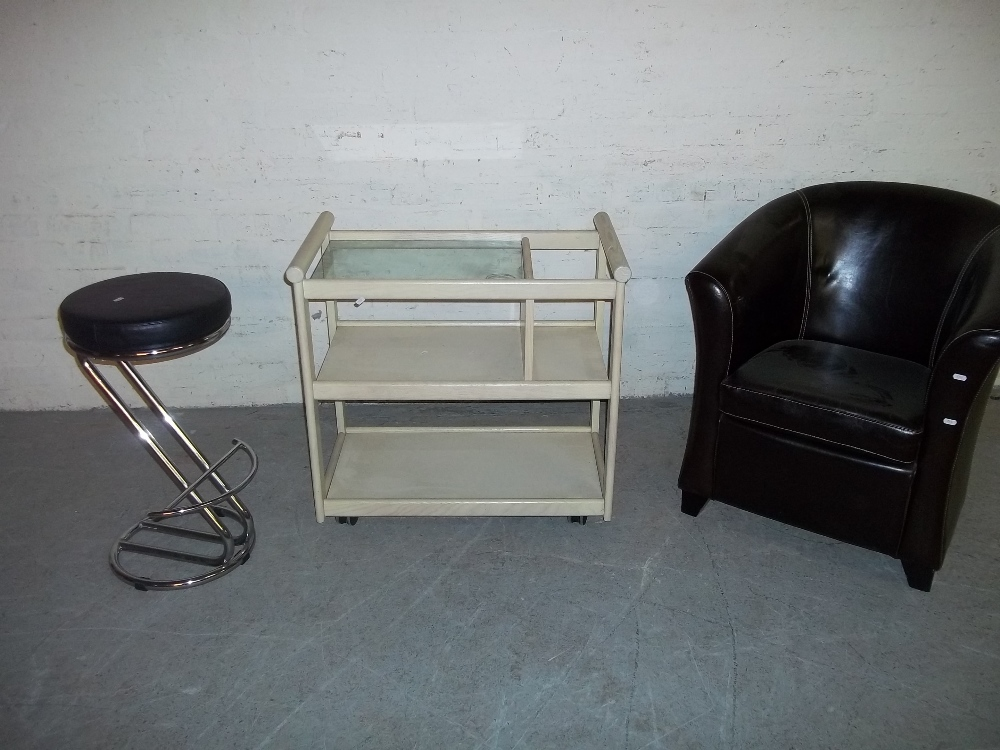 THREE MODERN ITEMS TO INCLUDE A TUB CHAIR, A CHROME STOOL AND A SERVING TROLLEY