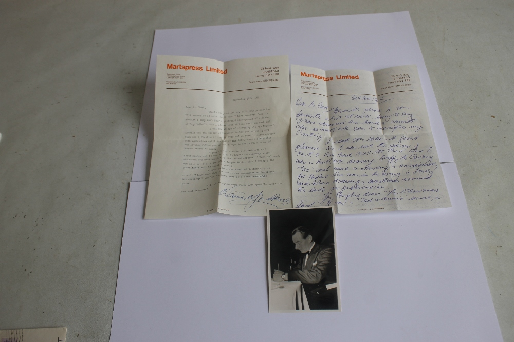 LEONARD MATTHEWS SIGNED LETTERS AND PHOTOGRAPH OF HUGH MCNEILL, - Leonard Matthews was editor,