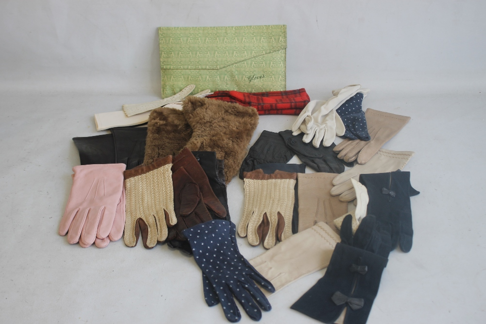 A TRAY OF ASSORTED VINTAGE PAIRS OF GLOVES mainly leather to include Milore, Elless, Dent Fownes, (