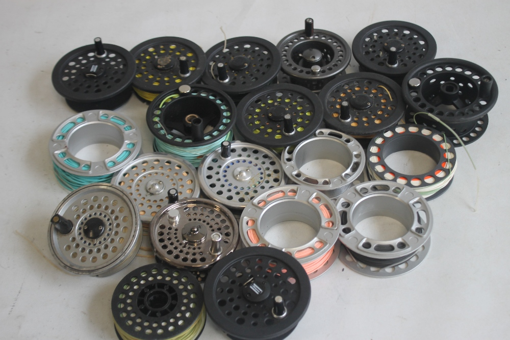 """A QUANTITY OF ASSORTED SPARE FLY REELS SPOOLS to include """"Shakespeare,"""" etc."""