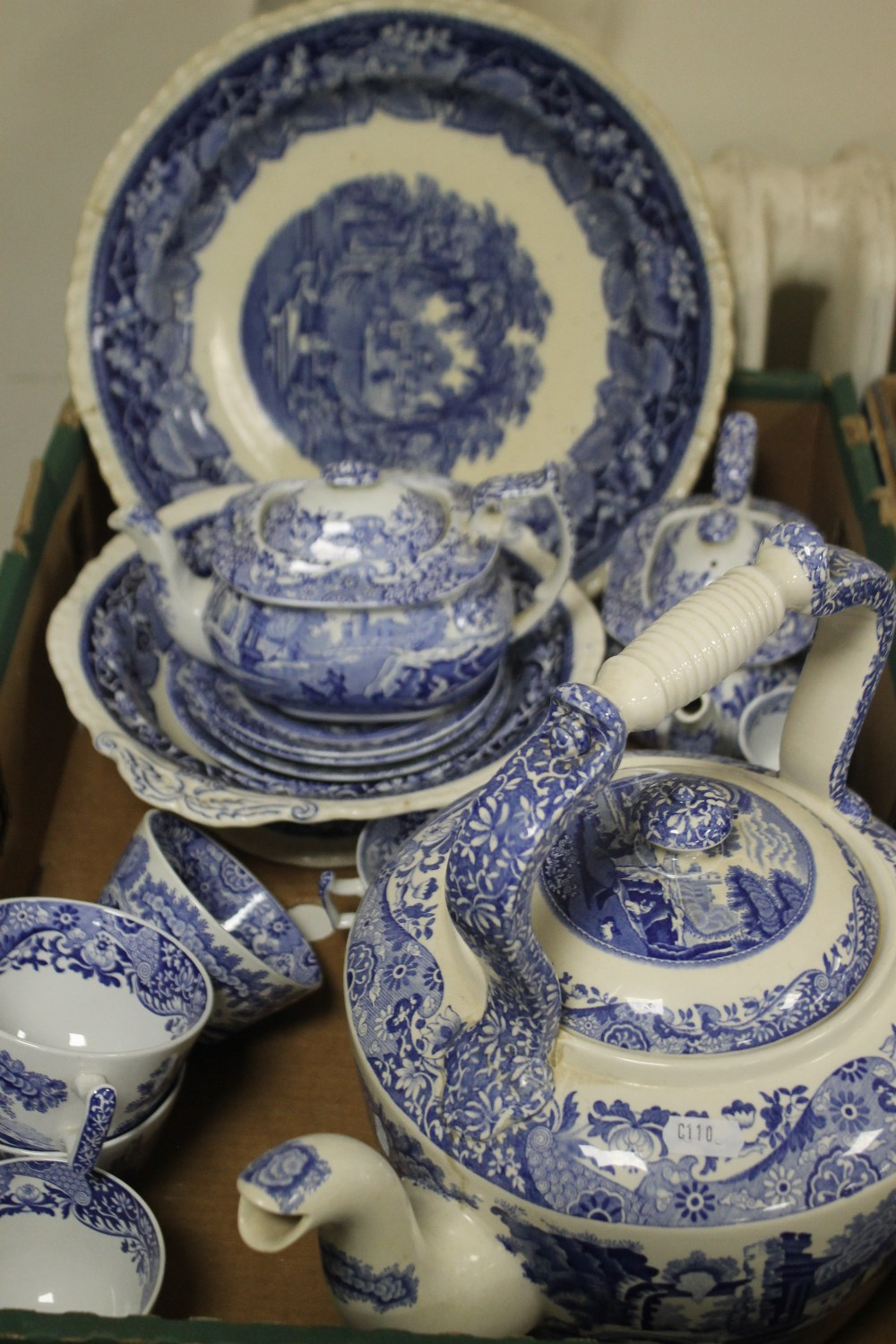 TWO TRAYS OF BLUE & WHITE CERAMICS TO INCLUDE SPODE (trays not included) - Image 2 of 3