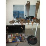 A SELECTION OF TOOLS AND STORAGE DRAWERS
