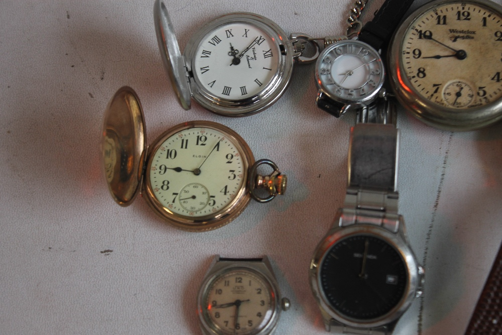 AN ELGIN GOLD PLATED HUNTER POCKET WATCH and two others together with a small quantity of wrist - Image 3 of 4