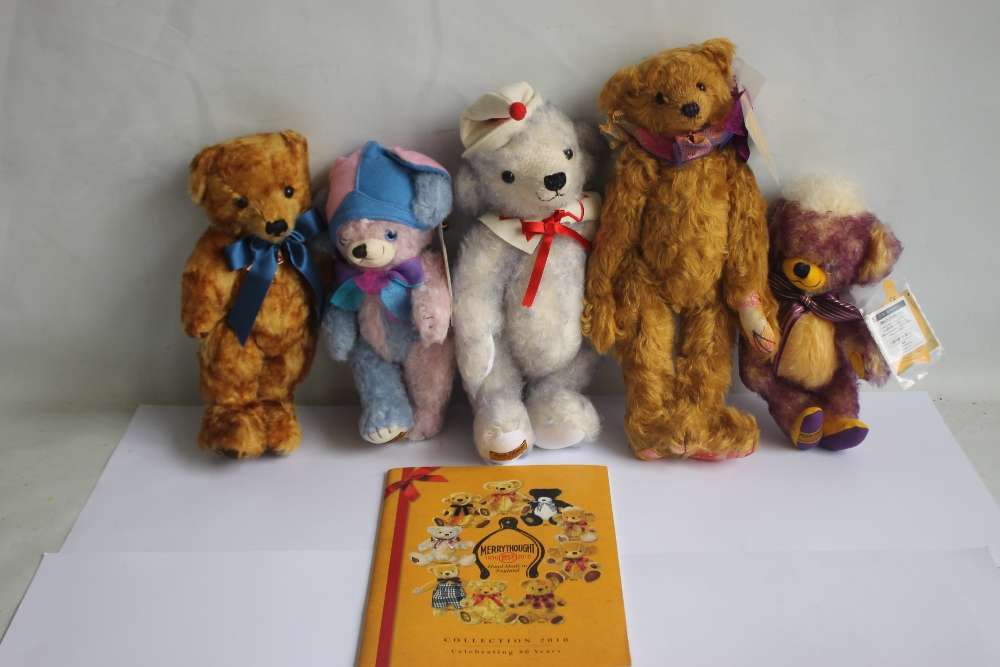 MERRYTHOUGHT TEDDY BEARS to include Cheeky Little jester, Punkie Plum, Bobo, Celine, and 2012