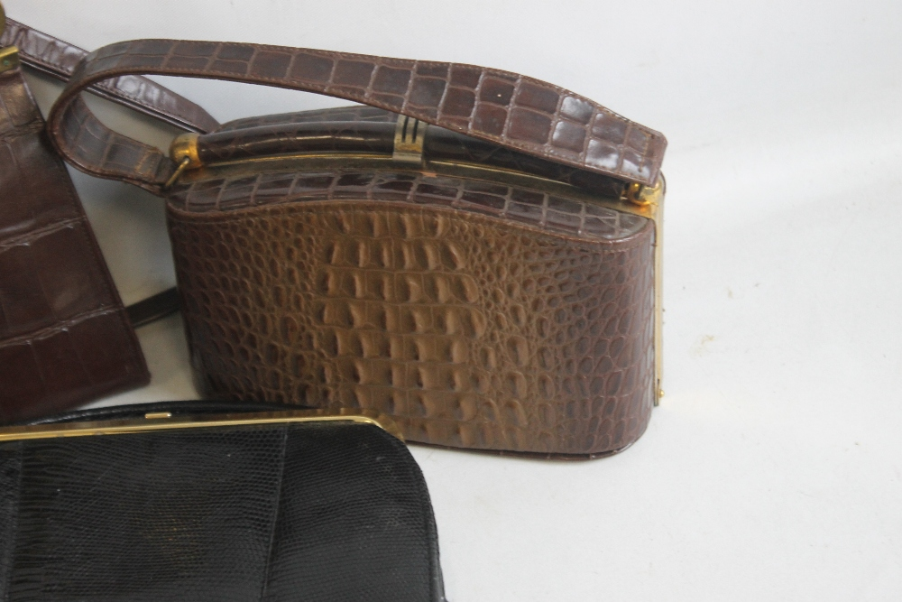 A BLACK LIZARD SKIN HANDBAG of unknown make together with a Meadows brown suede handbag and - Image 4 of 6