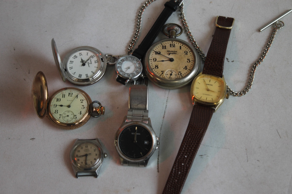AN ELGIN GOLD PLATED HUNTER POCKET WATCH and two others together with a small quantity of wrist