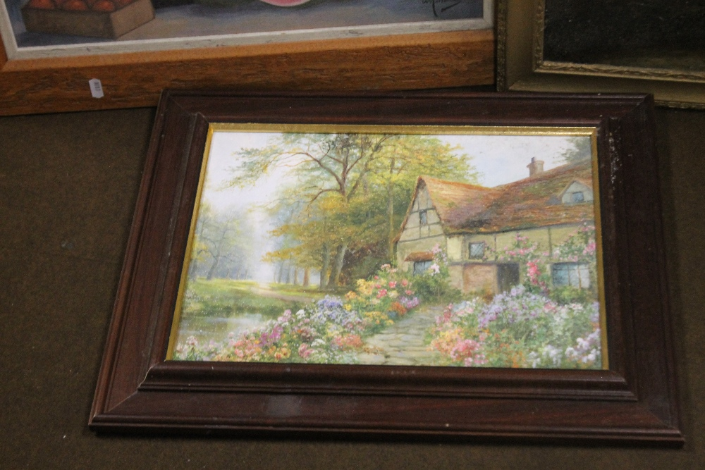 TWO FRAMED OILS ONE DEPICTING A FARMYARD SCENE THE OTHER A COTTAGE, together with a modern print - Image 4 of 4
