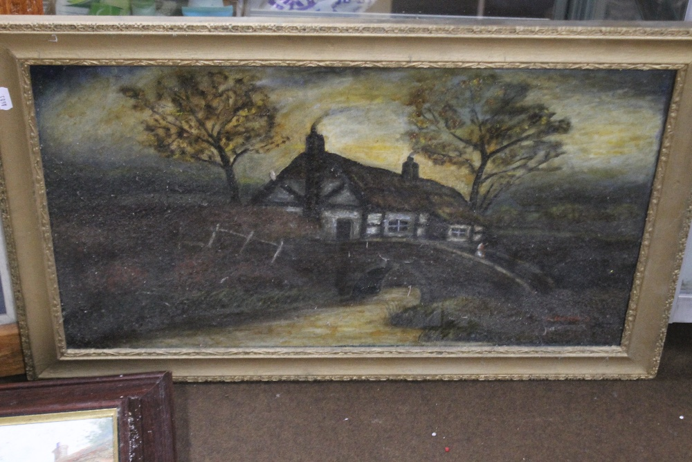 TWO FRAMED OILS ONE DEPICTING A FARMYARD SCENE THE OTHER A COTTAGE, together with a modern print - Image 3 of 4