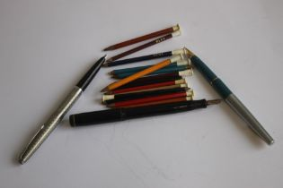 THREE VINTAGE FOUNTAIN PENS, A MENTIMORE DIPLOMA, STEEL PARKER AND A SHEAFFER WHITE DOT, along
