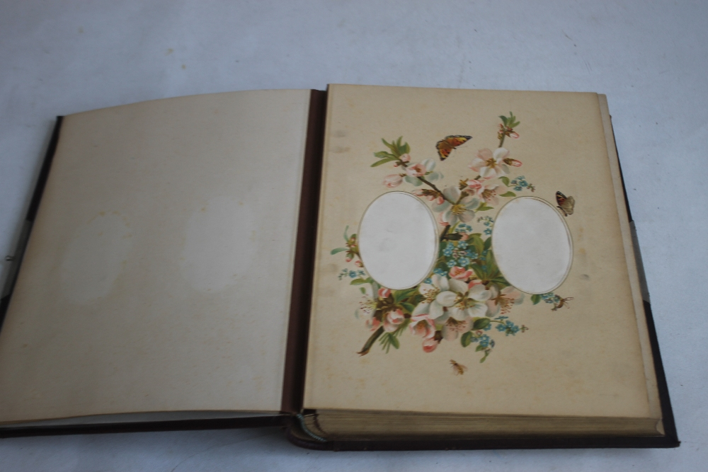 A VICTORIAN LEATHER BOUND PHOTOGRAPH ALBUM WITH CONTENTS, mainly portraits some decorated pages - Image 2 of 6