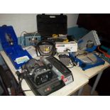 A SELECTION OF POWER TOOLS TO INCLUDE A BOXED DREMEL, A POWERED TILE CUTTER AND A CHOP SAW