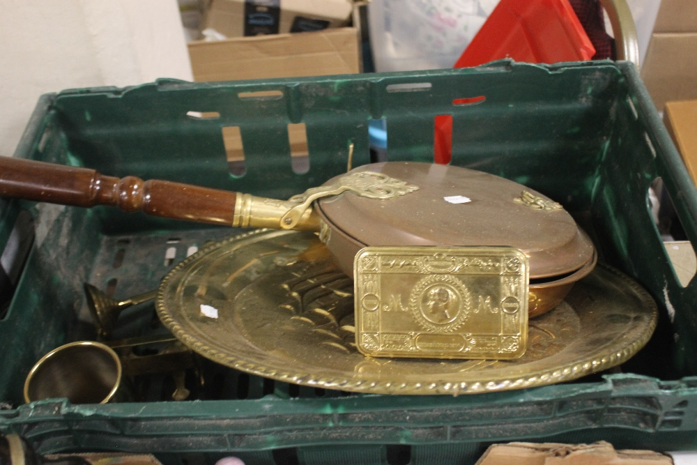 A SMALL QUANTITY OF METALWARE to include a 1974 commemorative tin