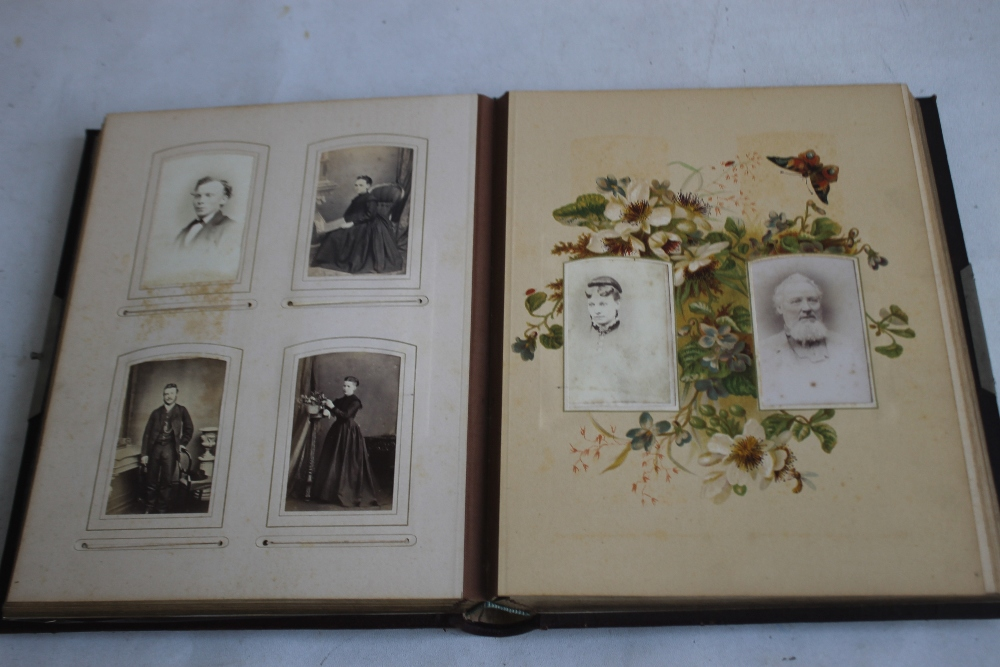 A VICTORIAN LEATHER BOUND PHOTOGRAPH ALBUM WITH CONTENTS, mainly portraits some decorated pages - Image 4 of 6