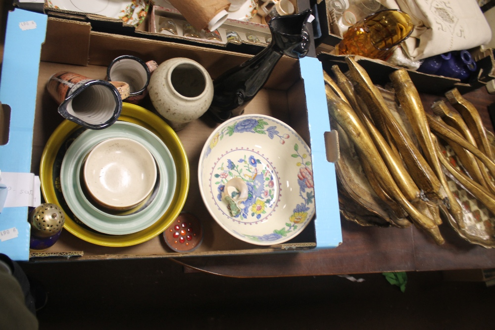 A TRAY OF CERAMICS together with three tables (tray not included)
