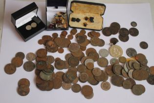 A QUANTITY OF BRITISH PRE DECIMAL COINS, and a selection of cuff links