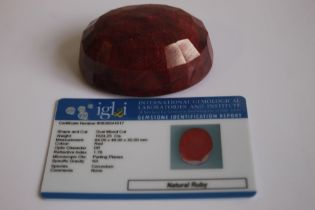 AN IGL & I (INTERNATIONAL GEMOLOGICAL LABORATORIES AND INSTITUTE) CERTIFICATED NATURAL RUBY, oval