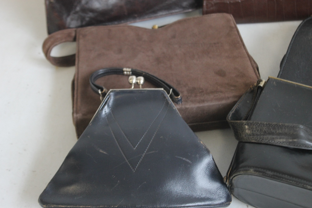 A BLACK LIZARD SKIN HANDBAG of unknown make together with a Meadows brown suede handbag and - Image 6 of 6