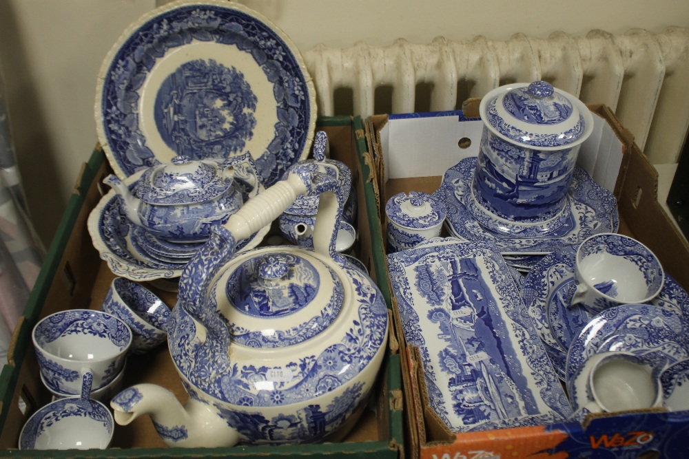 TWO TRAYS OF BLUE & WHITE CERAMICS TO INCLUDE SPODE (trays not included)