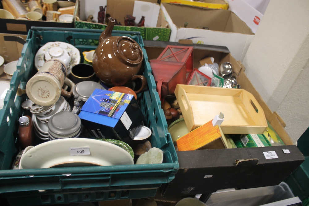 TWO TRAYS OF CERAMICS AND METALWARE TO INCLUDE STEINS (trays not included)