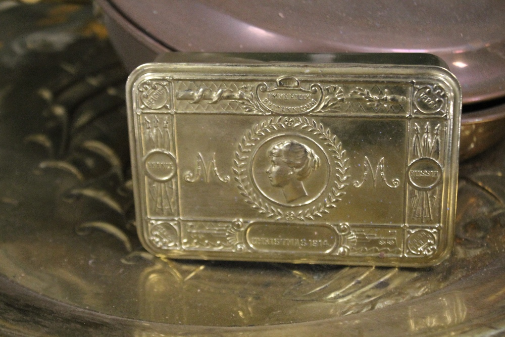 A SMALL QUANTITY OF METALWARE to include a 1974 commemorative tin - Image 2 of 2
