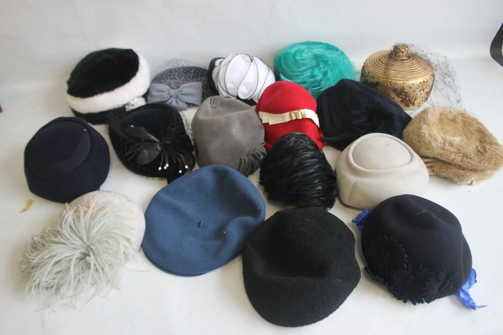 A SMALL QUANTITY OF PILLBOX STYLE HATS to include 'Headways by Albert', 'Marten' etc. and a Maugreen