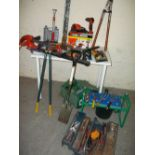 A SELECTION OF TOOLS AND GARDEN TOOLS