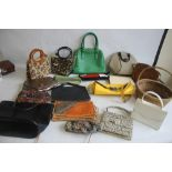 TWO BOXES OF ASSORTED HANDBAGS AND CLUTCH BAGS to include Gionni, Miss Sixty etc together with a