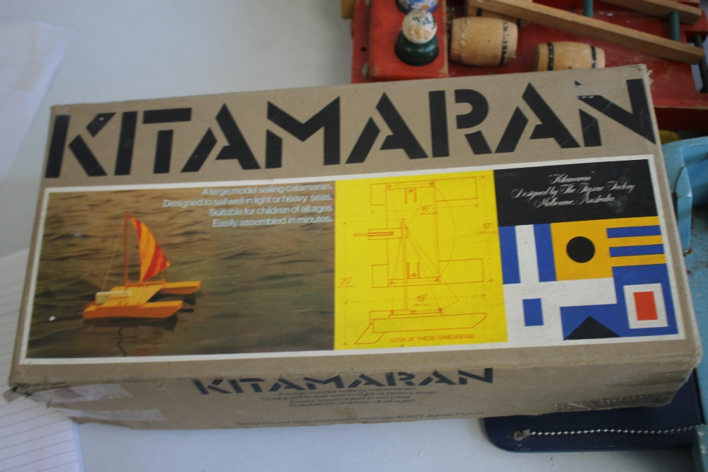 A QUANTITY OF WOODEN TOYS to include a boxed Kitmaran model, large vintage ferry, home built trucks, - Image 4 of 5