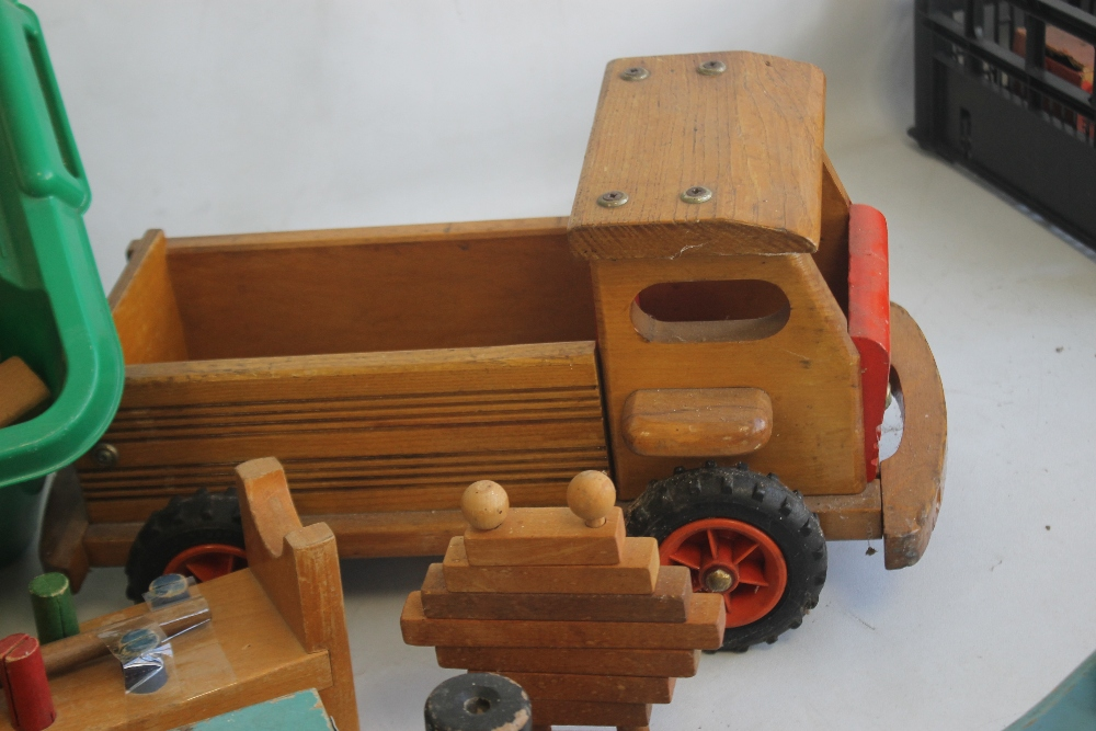 A QUANTITY OF WOODEN TOYS to include a boxed Kitmaran model, large vintage ferry, home built trucks, - Image 2 of 5