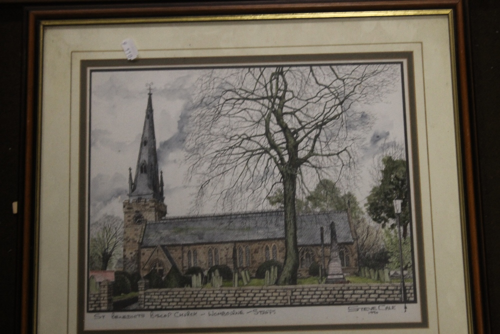 A FRAME OF FOUR PHOTOGRAPHS OF WOMBOURNE, together with a print of Wombourne - Image 3 of 3