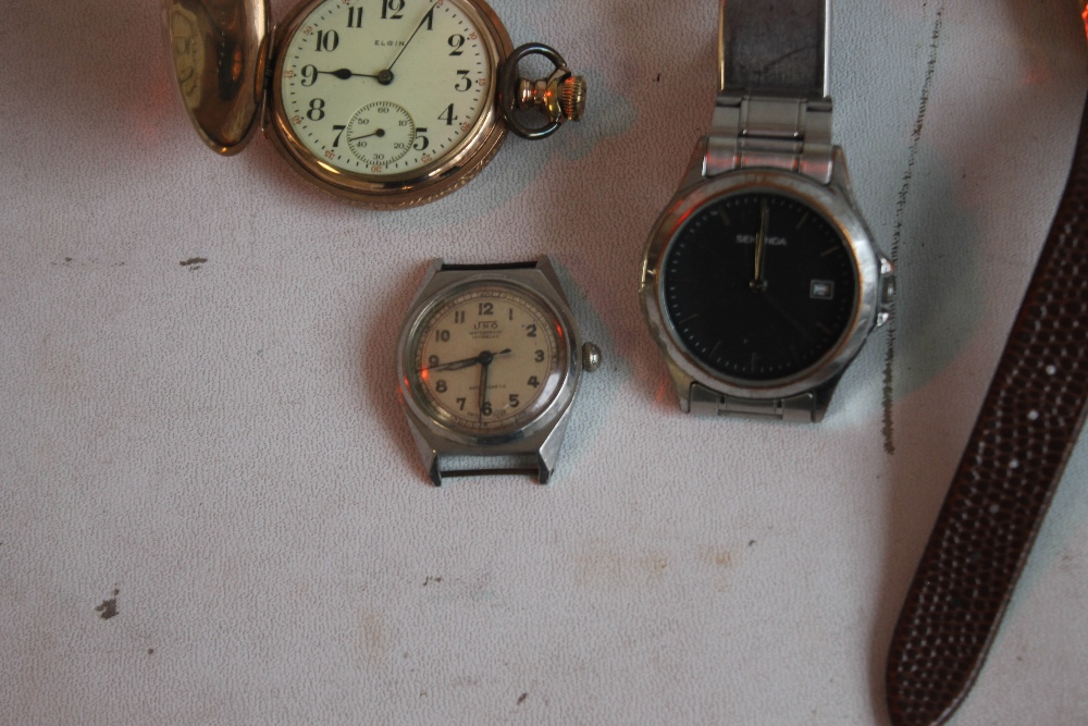 AN ELGIN GOLD PLATED HUNTER POCKET WATCH and two others together with a small quantity of wrist - Image 4 of 4