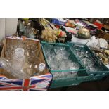 THREE TRAYS OF ASSORTED GLASSWARE (trays not included)