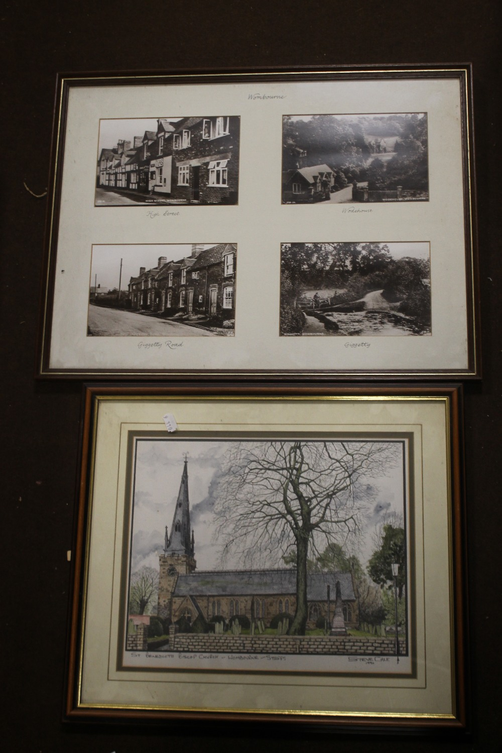 A FRAME OF FOUR PHOTOGRAPHS OF WOMBOURNE, together with a print of Wombourne